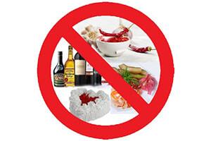 Запрещены к употреблению продукты и напитки
